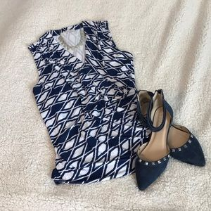 Navy and white faux wrap top